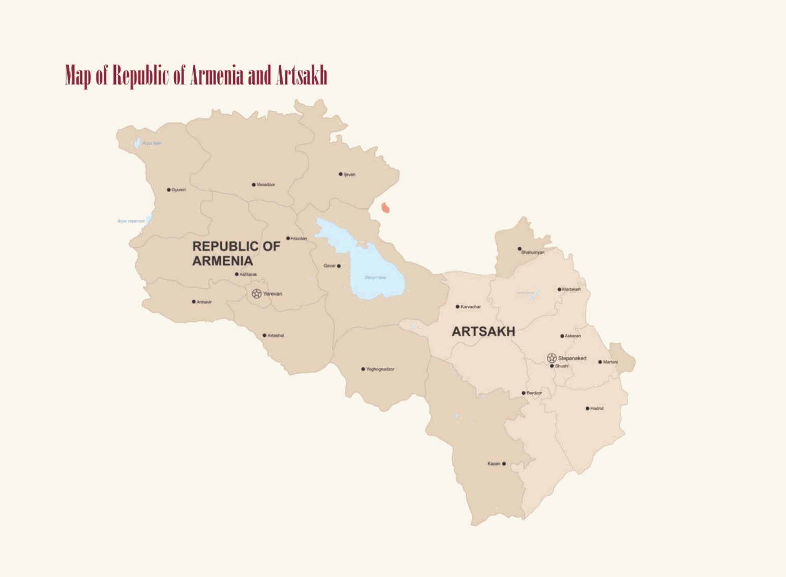 Map of Armenia Wines